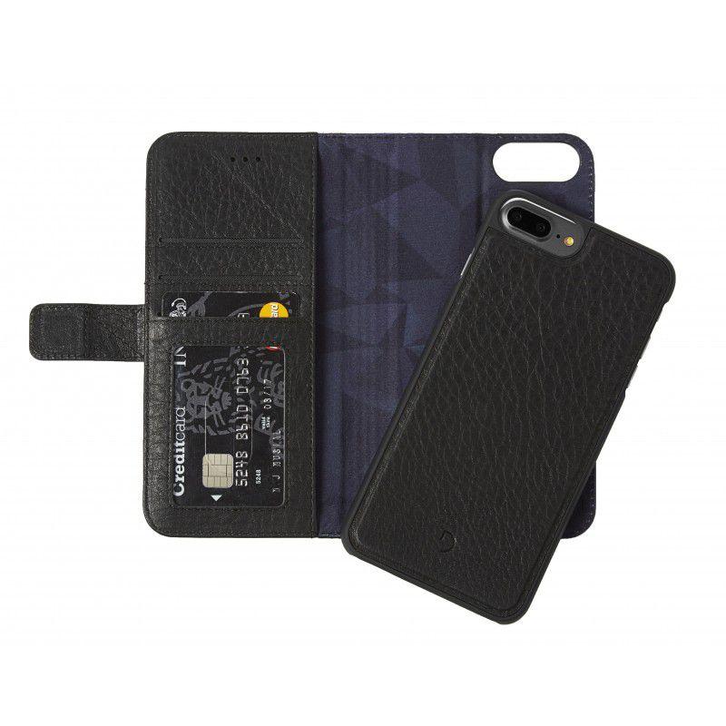 Decoded 2 σε 1 Δερμάτινη λεπτή θήκη προστασίας με μαγνητικό κάλυμμα για iPhone 7 Plus σε χρώμα μαύρο