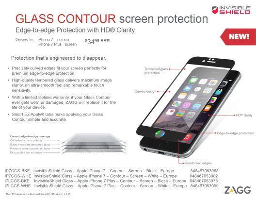 ZAGG InvisibleSHIELD Glass Contour Προστατευτικό φιλμ οθόνης Edge to Edge για Samsung S7 Edge διάφανη