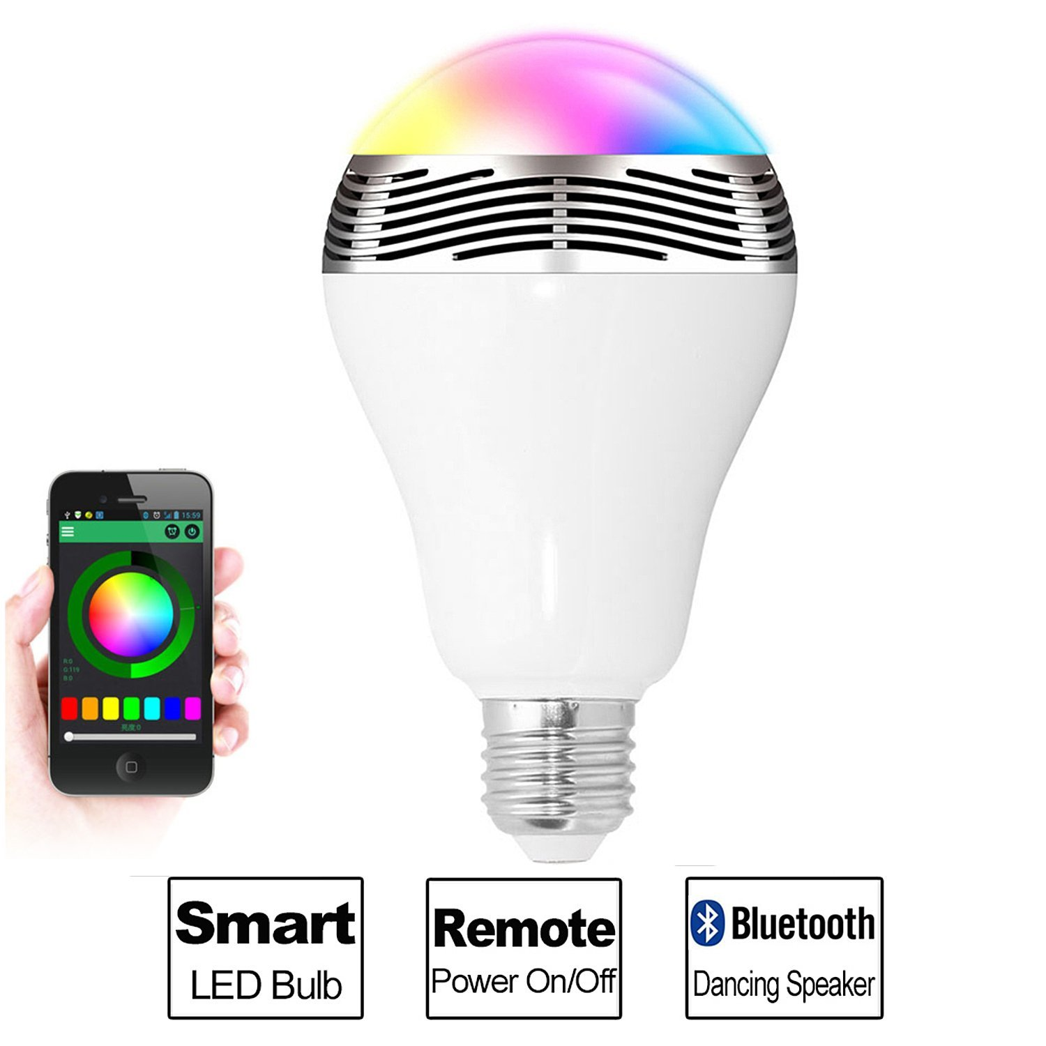 MiLight 6W+3W Speaker E27 Bluetooth 4.0 Smart LED Λάμπα για Android & iOS
